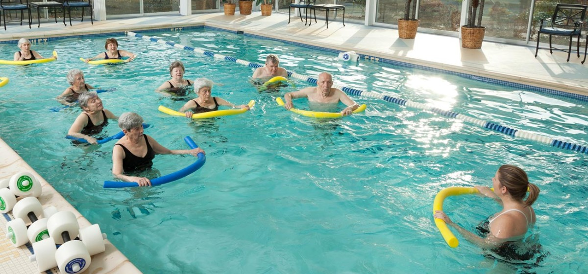 Group exercise classes in our heated indoor pool